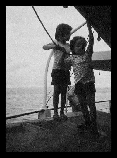 Dauro e André no navio de Manaus a Belém