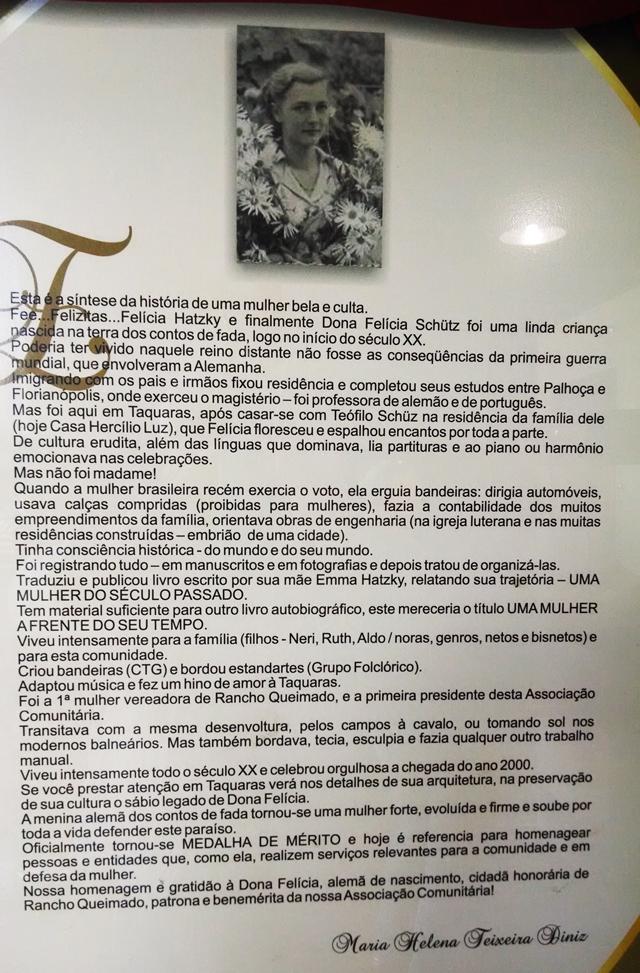 Felícia Schütz - cartaz com biografia